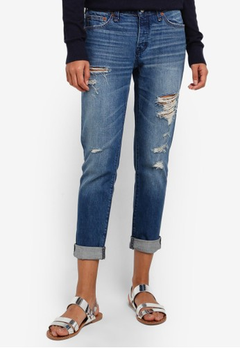 Abercrombie & Fitch blue Dark Destroy Slim Jeans AB423AA0RD72MY_1