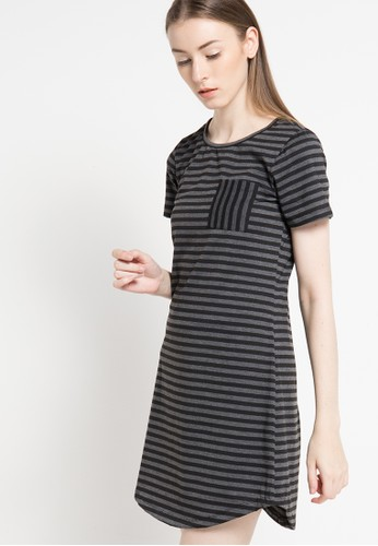 sophistix black Myla Striped Knit Dress In Grey SO829AA61DUOID_1