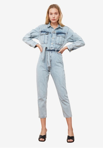 Trendyol blue Belted Denim Utility Jumpsuit F7A84AAA1323BCGS_1