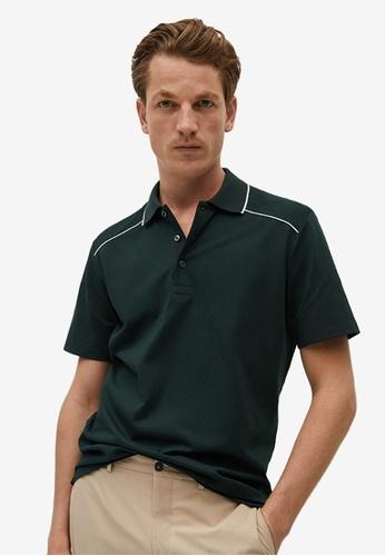 MANGO Man green Contrasting Stripes Cotton Polo Shirt 061C6AA58FFB2BGS_1