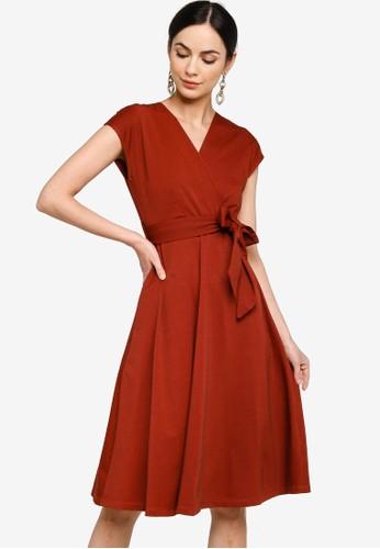 ZALORA WORK multi V Neck Midi Dress 57046AA7CD655EGS_1