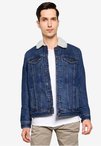 Springfield 藍色 Medium Wash Denim Jacket 14691AA3B78D8BGS_1