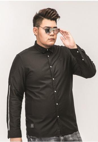 c3351bc0cd763 JSMIX black Plussize SG Sleeve White Stripe Long Sleeve Plus Size Men Shirt  6E7A3AA8292EA4GS 1