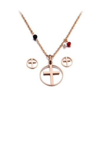 Glamorousky silver Simple and Classic Plated Rose Gold Cross Geometric Round 316L Stainless Steel Necklace and Stud Earrings Set 4D6A2AC509DB71GS_1