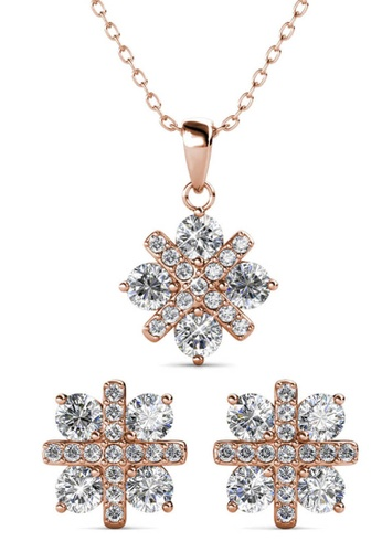 Her Jewellery gold Cross Petal Set (Rose Gold) - Made with premium grade crystals from Austria 77DBEAC7EF4EF5GS_1