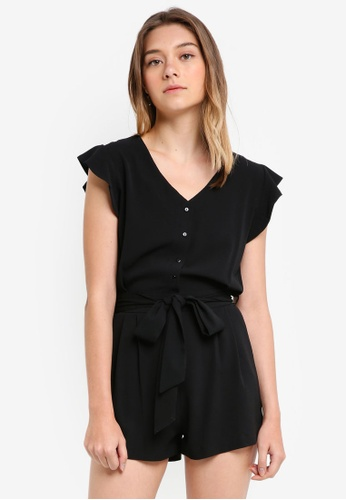 Something Borrowed black Button Down Romper with Sash 85209AA86256FBGS_1