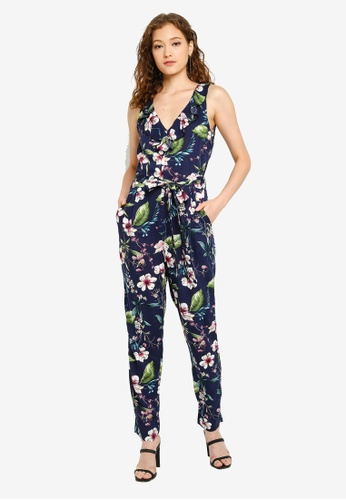 d60b527765762 Buy Wallis Navy Floral Print Jumpsuit Online on ZALORA Singapore