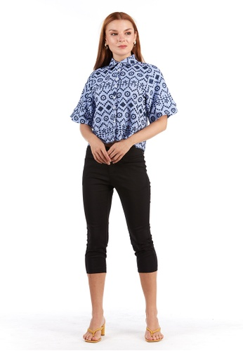 What To Wear blue Cotton Fully Embroidered Shirt in Blue 4A647AAD69456FGS_1