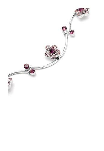 Glamorousky purple Flower and Wave Bracelet with Purple Austrian Element Crystals 7D5C2ACA0DE668GS_1