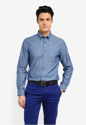 Brooks Brothers 海軍藍色 休閒印花長袖襯衫 18391AA797A95CGS_1