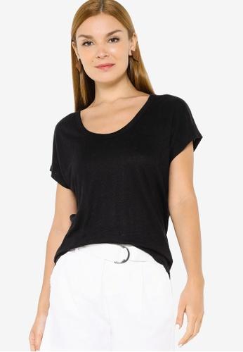 Banana Republic black Short Sleeve Linen Scoop Neck Tee 9F242AA6B7C96AGS_1