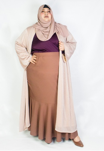 Zaryluq pink and gold Curve Glitter Knitted Cardigan in Rose Gold 1E892AA9DD3475GS_1