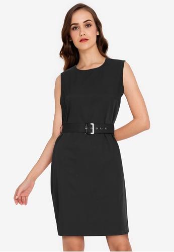 ZALORA WORK black Self Tie Buckle Dress 4B960AADB8240EGS_1