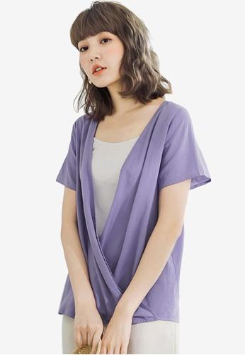 Sesura purple Two Way Charm Surplice Top A13CDAA1441E26GS_1