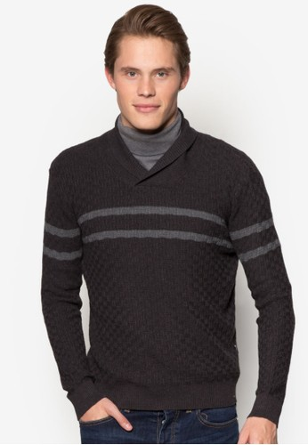 學院風zalora 台灣條紋長袖針織衫, 服飾, 運動衫