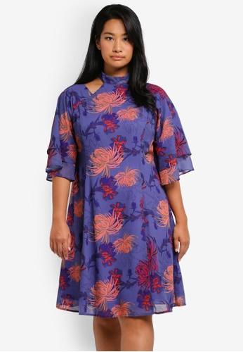 LOST INK PLUS multi Plus Size Dress With Cape Back LO776AA0T1SOMY_1
