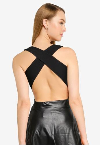 Miss Selfridge black Petite Black Cross Body Bodysuit F1739AA48989ABGS_1