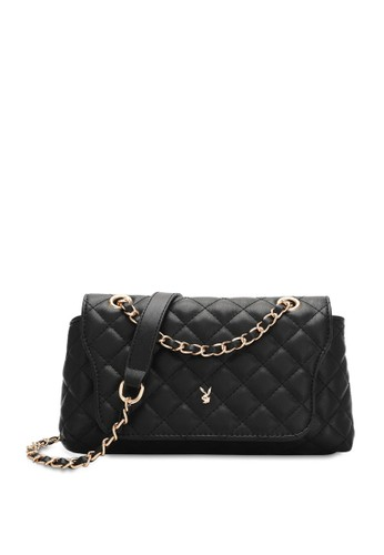 PLAYBOY BUNNY black Diamond Chain Sling Bag 01E2CACD57F166GS_1