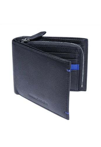 ENZODESIGN black and blue New Design Soft Cow Leather Wallet with Zip Coin Compartment EN357AC0F57ZSG_1