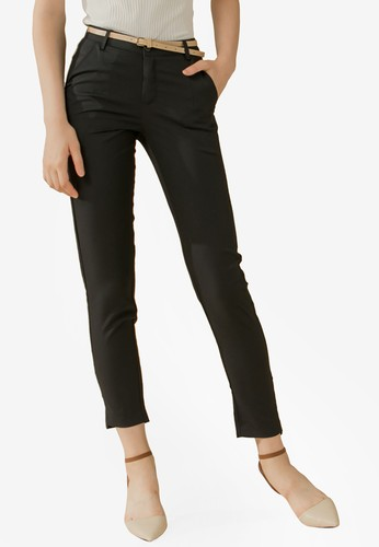 Eyescream black Belted Cropped Pants 5BAB6AAAFBB4C9GS_1
