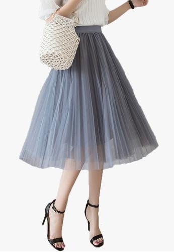 Halo grey Layered Net Yarn Skirt 4CC49AAB68F810GS_1