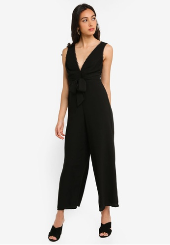 92ef5e7fd327 Buy Miss Selfridge Petite Black Lace Trim Jumpsuit Online on ZALORA ...