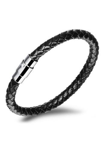 YOUNIQ black YOUNIQ Single Big Steel Genuine Leather Bracelet for Men (Black) YO999AC25MBQMY_1