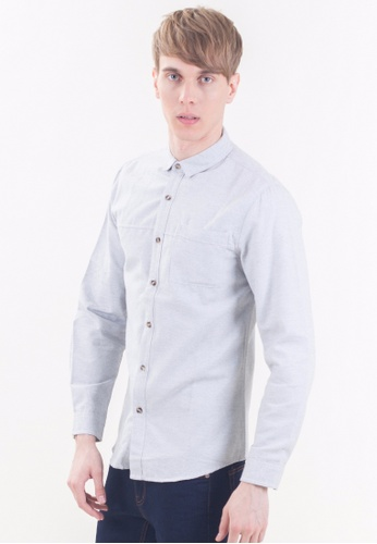 Drum Smart Casual Pocket Long Sleeve Shirt-GRY DR425AA05RPQMY_1