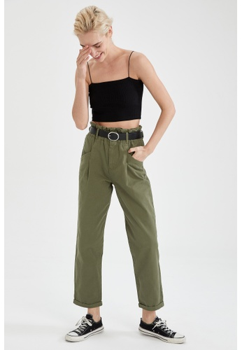DeFacto green High Waist Pleated Trousers 20935AA794C71BGS_1