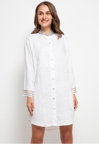 The Ocean Bali white Shanghai Linen Dress 8E060AA27A3F67GS_1