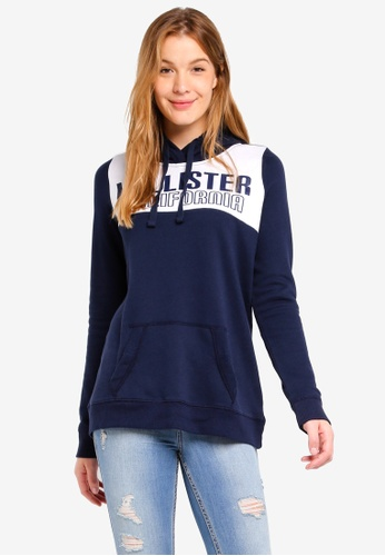Hollister navy Oversized Colorblock Hoodie F8A34AAFCFFCCDGS_1