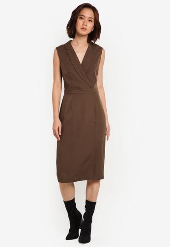 ZALORA green Corporate Overlay Sleeveless Dress 5FE5AAAF086F36GS_1