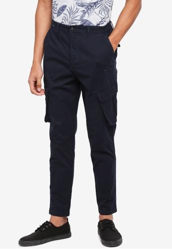 Burton Menswear London navy Navy Tapered Fit Stretch Cargo Trousers 5DD08AA552DE40GS_1