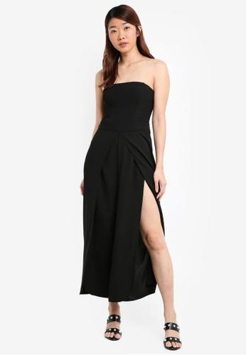 387a7096b22 Miss Selfridge black Black Split Leg Bandeau Jumpsuit 8622BAAD2D16B5GS 1