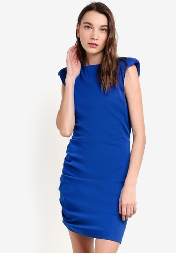 Mango blue Quilted Shoulders Dress MA193AA14RZXMY_1
