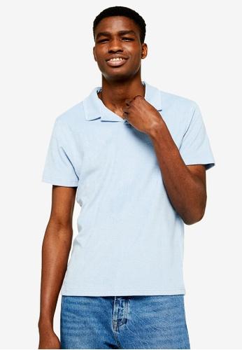 36f76d641 Buy Topman Light Blue Twill Revere Polo Shirt Online   ZALORA Malaysia