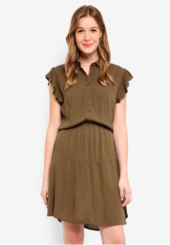 Cotton On green Woven Bertie Button Up Tea Dress AA343AA413DF6CGS_1