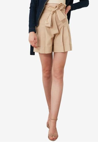 Trendyol 米褐色 領帶 前Paperbag Tailored 短褲 B1A43AA24093DCGS_1