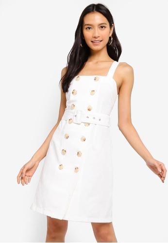 ZALORA 白色 鈕釦 Detailed 洋裝 9FE8BAA92CBBA0GS_1