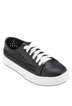 Black Whip Stitch Lazer Cut Sneakers
