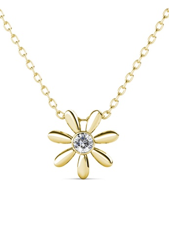 Her Jewellery yellow and gold Petra Pendant (Yellow Gold) -   Made with premium grade crystals from Austria 06FDDACEAE97D7GS_1