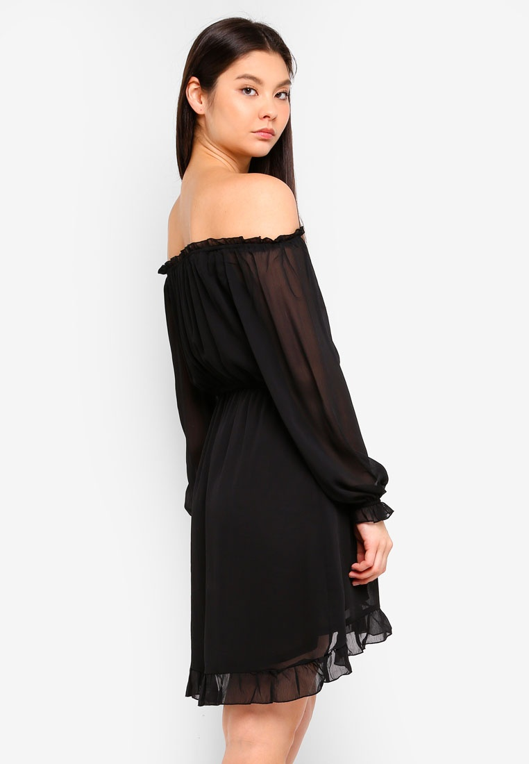 Woven Shoulder Black Lorne Dress Off Cotton On The fqnw7PfATr