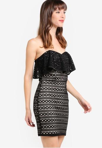 Miss Selfridge black Black Lace Band Mini Dress MI665AA27HEQMY_1