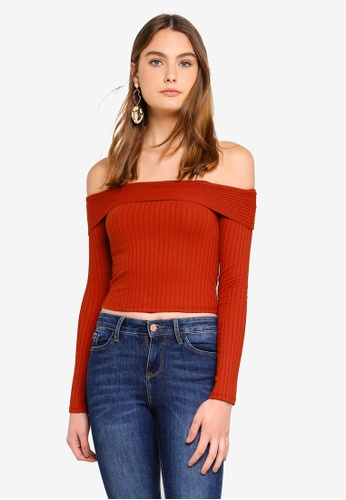 9079d76bd02e2f Buy Miss Selfridge Rust Jumbo Ribbed Bardot Top
