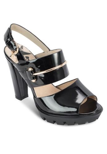 金飾露趾粗跟涼鞋,zalora 衣服評價 女鞋, 鞋