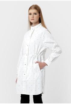 harga Pink Polka Long Coat Shirt Zalora.co.id