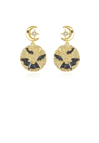 Glamorousky white Fashion Personality Plated Gold Bat Geometric Round Earrings with Cubic Zirconia 78D6CAC8CF9DBFGS_1