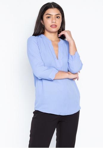 DEBENHAMS blue Principles - Prn Scallop Utility Shirt F9073AAAF31372GS_1