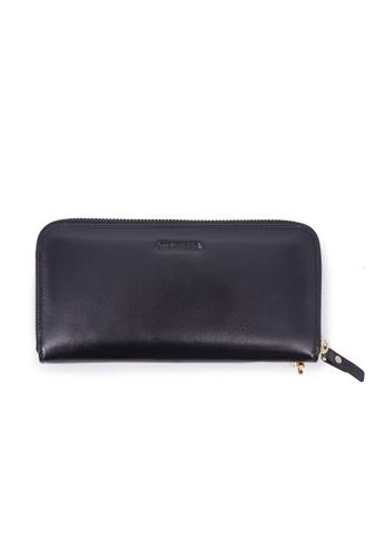 Rad Russel black Glossy Leather Zip Around Wallet - Black 27FF5AC14076C0GS_1