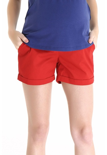 Bove by Spring Maternity red Woven Shorts Fine Twill IB1706 SP010AA79IWMSG_1